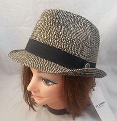 NWT  BEN SHERMAN Black Natural Brown Trilby Hat Paper Straw Sz L XL e90120dc2649