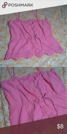 Size Small Rue 21 Blouse Pink Spaghetti Strap Blouse Size Small Rue 21, Buttons down the front, Ties at the waist in the middle to be very fitted, Really Cute! Rue 21 Tops Blouses