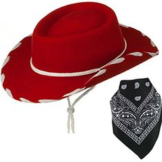 Quality Child Cowboy Costume Hat With *FREE* Cotton Paisley Bandanna - Funny Party Hats TM (Red Felt Cowgirl Hat With Black Paisley Bandana) ** Check this awesome product by going to the link at the image.