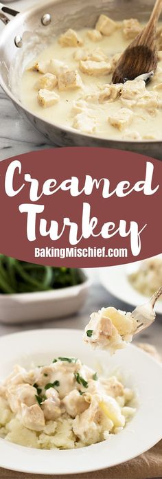 Creamed turkey (or creamed chicken) is a simple weeknight dinner that can be made with leftover turkey or chicken. It's pure comfort food and completely delicious. Recipe includes nutritional information. From http://BakingMischief.com