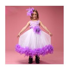 Sunday Little Girls Feather Princess Lace Pearls Flower Girl Dresses 10 Purple ** For more information, visit image link.