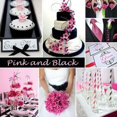 wedding mood board pink and black