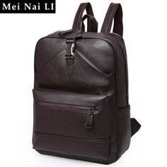 MEI NAI LI Men's New leather shoulder backpack PU soft leather Male Backpack Leisure Men Zipper 14-inch Laptop Bags Multi-pocket