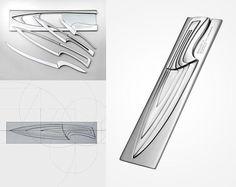 """Jogo de facas criado pela designer alemã Mia Schmallenback. a Criação ganhou o prêmio """"European Cutlery Design Awar"""" em 2006"""