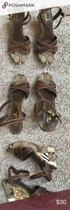 "Coach Alina Wedge Sandals Super cute Coach Alina Wedge Sandals size 6.5. Excellent condition. Alina brown signature fabric patchwork Wedges. 4"" wedge heel. Leather upper. Coach Shoes Wedges"
