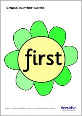 The ordinal number-words from first to tenth presented on colourful flowers. Ordinal Numbers, Ordering Numbers, Number Words, Teacher Resources, Colorful Flowers, Classroom, Education, Math, My Love
