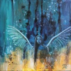 Animation of abstract angel painting  #animation #video #photomotion #pixamotion Acrylic Paintings, Angel Paintings, Original Artwork, Original Paintings, Angel Art, Canvas Size, Bunt, Angels, Spirituality