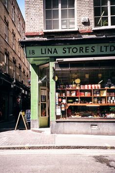 A Soho icon. I love the green façade of this Italian delicatessen    Lina Stores  18 Brewer Street  London W1F 0SH  020 7437 6482