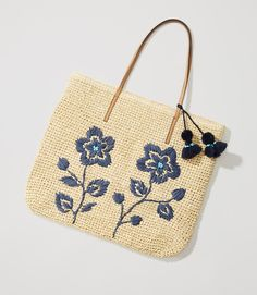 Primary Image of Floral Embroidered Straw Tote