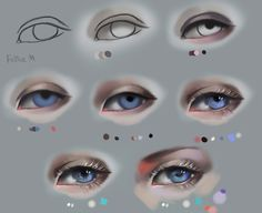 Semi-realism eyes with white lashes. Step by step by FeliceMelancholie.deviantart.com on @DeviantArt