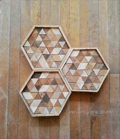 Reclaimed wood wall art or wood table tray with hexagon triangle pattern from Eleventy One Studio. Made from unstained lath.