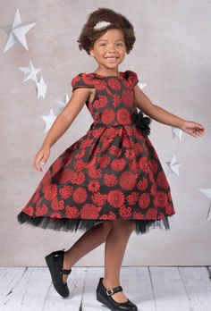 Girls Red Floral Fit & Flare Dress w. High Low Peek-a-Boo Tulle Skirt 4T-14