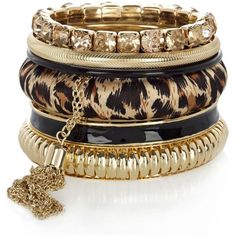 gold tone leopard print pack of bangles ❤ liked on Polyvore