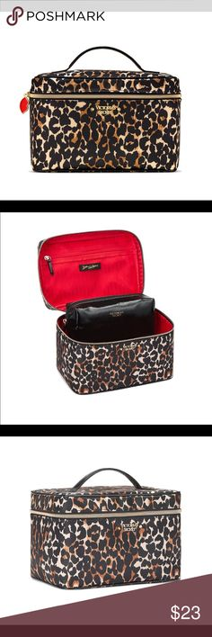 """💋🎁👜 VICTORIA'S SECRET LEOPARD PRINT BAG 💋🎁👜 -Perfect for makeup, brushes, jewelry and other beauty essentials -Top compartment with mesh zip pocket and brush organization -Train case: 9¼""""L x 6¼""""W x 6""""H -Small beauty bag: 7½L"""" x 2½W"""" x 3¼H"""" Imported polyuretha Victoria's Secret Bags"""
