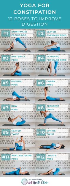 Yoga for Constipation – 12 Poses to Improve Digestion If you find yourself namaste-ing on the toilet too long every day, these yoga digestion poses are for you. Incorporating stretching, yoga and gentle movement. Yoga Meditation, Yoga Bewegungen, Yoga Day, Morning Yoga, Yin Yoga, Yoga Flow, Pilates Yoga, Kundalini Yoga, Pilates Reformer