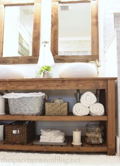 master bathroom vanity area organized shelves with baskets