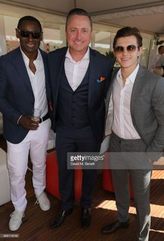 David Harewood, Andrew Doyle and Tom Holland attend the Audi Polo Challenge at Coworth Park Polo Club on June 2018 in Ascot, England. Ascot England, David Harewood, Tommy Boy, June 30, Polo Club, Tom Holland, Devil, Spiderman, Audi