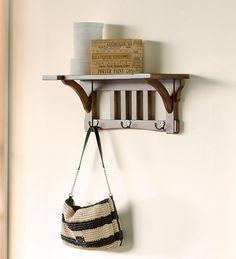 Mission-Inspired 3-Hook Coat Rack With Shelf