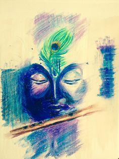 Oil Pastel Drawings Easy, Oil Pastel Paintings, Oil Pastel Art, Easy Drawings, Oil Pastels, Krishna Love, Krishna Art, Lord Krishna, Manado