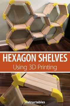 Hexagon Shelves Using Printing Create custom hexagon modular shelving with print joins.Create custom hexagon modular shelving with print joins. 3d Printer Designs, 3d Printer Projects, Wood Projects, Modular Shelving, Modular Storage, Furniture Makeover, Diy Furniture, Furniture Storage, Furniture Design
