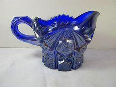 Vintage Cobalt Blue Carnival Glass Creamer by LavenderGardenCottag, $10.00