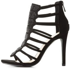 Delicious Embellished Caged Dress Sandals ($39) ❤ liked on Polyvore featuring shoes, sandals, black, black embellished sandals, black caged sandals, black strap sandals, strap heel sandals and dress sandals