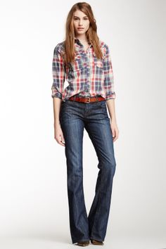 """Nikki Bootcut Leg Jean in osborne by David Kahn $184 - $52 @HauteLook. Sizing: 28=6, 29=8, 30=10, 31=10-12, 32=12. - Zip fly with button closure - 5 pocket construction - Bootcut leg - Light whiskering detail - Approx.8.5 """" rise, 36"""" inseam - Made in USA Model's stats: - Height: 5'8"""" - Waist: 25"""" - Hips: 35"""" Model is wearing size 27. Machine wash. 98% cotton, 2% elastane"""