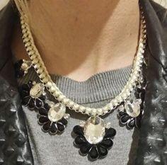 LLD Jewellery Seven Flower Collar Necklace Cream & Black Monochrome Celeb Blog