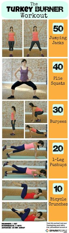 Torch some serious calories with the Turkey Burner #workout! No equipment needed, and can be done in small spaces. | via @SparkPeople #fitness #workout #Thanksgiving #healthyliving #healthyholidays