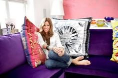 Giant scarf pillows! Who wouldn't love these! Dishfunctional Designs: How To Upcycle Thrift Shop Finds Into Trendy Home Decor