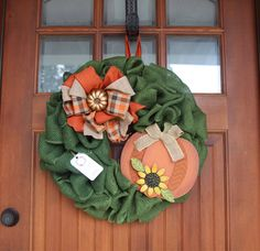 A personal favorite from my Etsy shop https://www.etsy.com/listing/555482787/pumpkin-wreathburlap-wreathfall