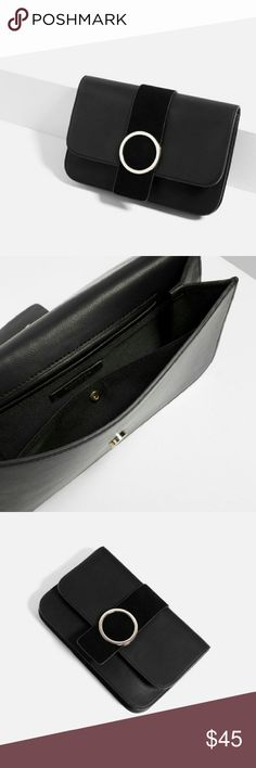 """ZARA Split Suede Leather Clutch Brand new with tags. Outer shell main material : 100% Polyurethane. Secondary Material: 100% Cow Leather.  Contrasting material on fold over flap. Silver round metal detailing. Lining with pocket. Magnetic closure. 7"""" x 11"""" x 0.8"""". Cheaper on Ⓜ️, just ask :) Zara Bags Clutches & Wristlets"""