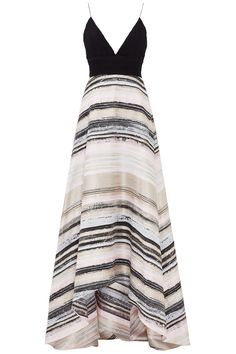 Neutral Stripe Gown by Badgley Mischka Dress The Population, Neutral, Striped Maxi Dresses, Badgley Mischka, Dress Up, Gown Dress, Strapless Dress, Ball Gowns, Evening Dresses