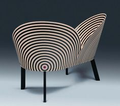 I love the way the stripes articulate the shape of this wondrous chair. Looks kinda  like a D Cup to me. Just sayin'. | Annie Jaroszewicz EQUIPT for play