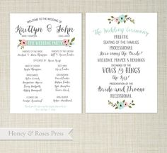 Beautiful and fun floral wedding program. Just send me all your details in the notes to seller box so I can customize it for your event!   //