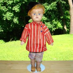 Old Russian Costumed Ceramic Head Boy Doll Compo Body C1920-30s 12 Inch