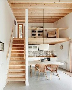 Amazing Interior Design Ideas for Small House. If you have small house and your living room design is small and may make the dream house design for your home and living room not yet realized, do no. Small Room Design, Tiny House Design, House Design Plans, Wooden House Design, Tiny Spaces, Small Loft Apartments, Loft Spaces, Modern Spaces, Tiny House Living