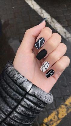 Cute Acrylic Nails, Cute Nails, Pretty Nails, Fancy Nails, Black Nail Designs, Acrylic Nail Designs, Summer Nail Designs, Fun Nail Designs, Neutral Nail Designs