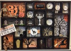 BOO! - Scrapbook.com- Halloween home decor made with paper and knick knacks lining a Printer Tray