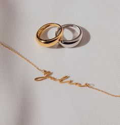 """eve's JEWEL on Instagram: """"Unsere personalisierte Namenskette in Kombi mit unseren Senna Ringen 🧚🏻♂️ #choosehandmade"""""""