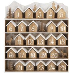 A by Amara Mini Houses Advent Calendar ($101) ❤ liked on Polyvore featuring home, home decor, holiday decorations, deer home decor, christmas tree advent calendar, dark chocolate advent calendar, christmas home decor and christmas advent calendar