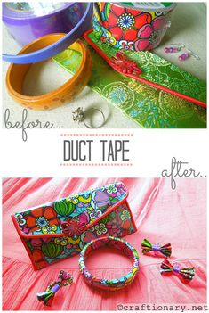 Duct tape crafts- DIY girly accessories - Craftionary right up my alley! Cute Crafts, Crafts To Do, Diy Craft Projects, Crafts For Kids, Arts And Crafts, Diy Crafts, Craft Ideas, Diy Ideas, Party Ideas