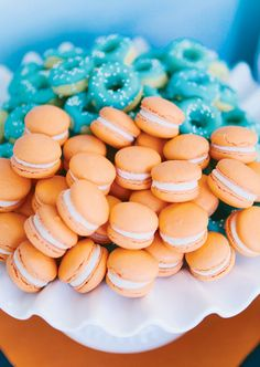 Mini macarons from Le Pop Shoppe and mini donuts recipe from Sprinkle Bakes