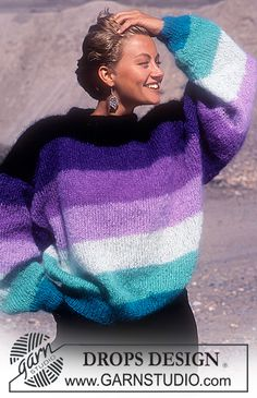DROPS - Free knitting patterns by DROPS Design - Sweater with block stripes in Vienna or Melody - Easy Sweater Knitting Patterns, Knit Patterns, Free Knitting, Finger Knitting, Knitting Tutorials, Drops Design, Garnstudio Drops, Hot Pink Sweater, Drops Patterns