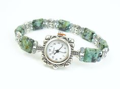 Beaded Bracelet Watch - Petite African Turquoise Stretchy Bracelet Watch