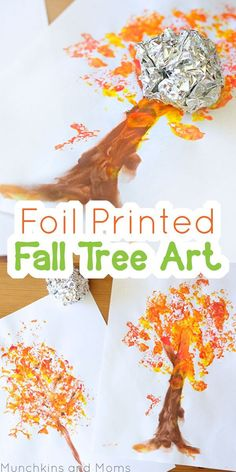 Foil printed Fall Tree Art! This is a great fall preschool art project, so…