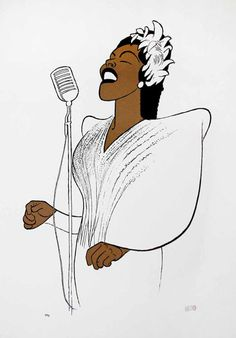 Al Hirschfeld Print - Billie Holiday