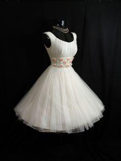 1950s WEDDING GOWN  | Vintage 1950s 50s White Ruched Chiffon Organza by VintageVortex