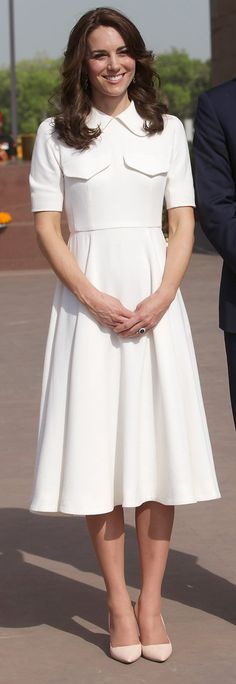 On Day 2 of her India tour, the duchess opted for a white-hot Emilia Wickstead dress, which she wore during a visit to the India Gate memorial in New Delhi.