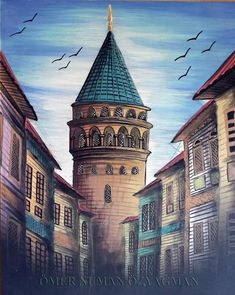 This Pin was discovered by Sem Art Sketches, Art Drawings, Istanbul, Art Painting Gallery, Pics Art, Turkish Art, Scenic Photography, Backrounds, Pour Painting
